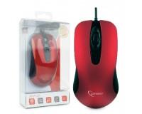 Мышь Gembird MOP-400-R USB Optical (1000 dpi) красная, 2 кнопки + колесо-кнопка покрытие корпуса Soft Touch, армированный кабель, бесшумная, блистер