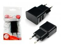 Зарядное устройство Cablexpert MP3A-PC-12 2100 mA 2хUSB, выходной ток: USB1-2.1А, USB2-1А, черное, 5В, пакет