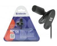 Микрофон Defender MIC-109 клипса, шнур 1, 8м, J3.5мм, черный