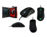 Мышь игровая Gembird MG-750 USB Optical (1000/2000/3000/4000 dpi) черная, 6 кнопок+колесо-кнопка сенсор Avago, ПО для макросов, хромо подсветка 16млн. цветов, кабель тканевый, изменяемая форма, коробка