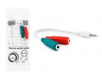 Переходник Gembird CCA-417W Jack 3, 5 штекер - 2Jack 3, 5 гнездо, кабель 0, 2м, наушники+микрофон, белый
