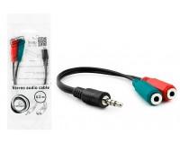 Переходник Gembird CCA-417 Jack 3, 5 штекер - 2Jack 3, 5 гнездо, кабель 0, 2 м, наушники+микрофон, черный