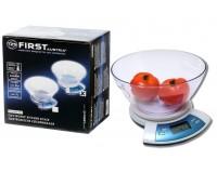 Весы кухонные First FA-6406 электронные, цена деления 1 г., max 5 кг., тарокомпенсация, термометр, чаша, серебро