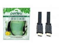 Кабель HDMI-HDMI Perfeo 1м ver.1.4b, плоский, пакет, черный (H1301)