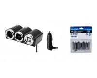 Переходник для прикуривателя OLESSON 1502 на 2 гнезда(120W) + 2 USB(5V/1000mA), на шнуре до 0, 6 м