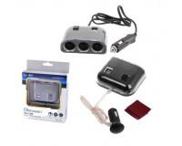 Переходник для прикуривателя OLESSON 1505 на 3 гнезда(120W) + 2 USB(5V/1200mA), на шнуре до 0, 6 м