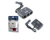 Переходник для прикуривателя OLESSON 1512 на 3 гнезда(120W) + 2 USB(5V/1000mA), на шнуре до 0, 6 м