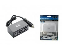 Переходник для прикуривателя OLESSON 1522 на 2 гнезда(120W)+ USB(5V/1200mA), на шнуре до 0, 6 м