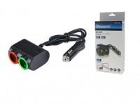 Переходник для прикуривателя OLESSON 1631 на 2 гнезда(120W)+ USB(5V/1200mA), на шнуре до 0, 6 м