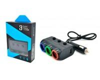 Переходник для прикуривателя VEECLE HM-638 напряжение: 12-24В, на 3 гнезда(120W) + 2 USB(5V/2000mA), на шнуре длина 0, 65м, кнопка выключения