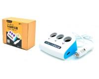 Переходник для прикуривателя VEECLE KY-072 напряжение: 12-24В, на 3 гнезда(120W) + 2 USB(5V/3100mA), на шнуре длина 0, 65м