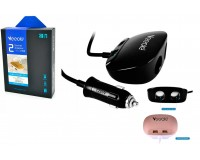 Переходник для прикуривателя VEECLE KY-513 напряжение: 12-24В, на 2 гнезда + 2 USB(5V/2000mA), на шнуре длина 0, 5м