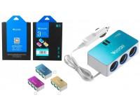 Переходник для прикуривателя VEECLE KY-528 напряжение: 12-24В, на 3 гнезда + 2 USB(5V/2000mA), на шнуре длина 0, 65м