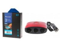 Переходник для прикуривателя VEECLE KY-538 напряжение: 12-24В, на 3 гнезда + 2 USB(5V/2000mA), на шнуре длина 0, 65м, кнопка выключения