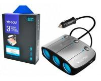Переходник для прикуривателя VEECLE KY-548 напряжение: 12-24В, на 3 гнезда + 2 USB(5V/2000mA), на шнуре длина 0, 65м, кнопка выключения