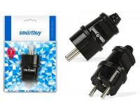 Сетевая вилка SmartBuy 16A 250В прямая с заземлением, черный (SBE-16-P01-b)