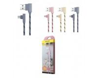 Кабель microUSB Awei длина 1м, допустимый ток до 2A, тканевый, угловой штекер, коробка, цветной (CL-90)