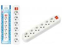 Сетевая колодка SmartBuy 6 роз. 16А, 3500Вт с заземлением, с выключателем, в пакете, белая (SBE-16-6-00-ZS)