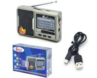 Приемник Fepe FP-1781BT аккумуляторный, AUX/USB/microSD до 32Гб, питание: от аккумулятора 18650(1200мА) (в комплекте) / 3*R6(АА) - в комплект не входят / miniUSB - шнур в комплекте, размер: 13.5х8.5х4см, 2 фонарика