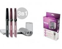 Триммер для удаления лишних волос Микма ИП-2151 beauty набор 3 в 1: триммер, прибор для завивки ресниц, прибор для полировки ногтей; тип батарей ААА