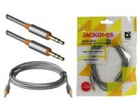 Кабель Jack 3.5 штекер-штекер Defender длина 1, 2м, тканевый, пакет, серый (JACK01-03)