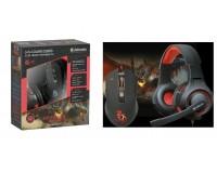 Мышь игровая Defender Devourer MHP-006 USB Optical (800/1800/2400/3200 dpi) черная, 5 кнопок+колесо-кнопка, +коврик, +наушники с микрофоном игровые, коробка (52006)