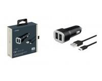 Автомобильное зарядное устройство Deppa 11283 2 USB 2.4А, 12/24В 2хUSB: USB1-1A, USB2-1, 4A, функция защиты от перегрузок и короткого замыкания, корпус ABS пластик, +дата-кабель microUSB длиной 1, 2м, черное