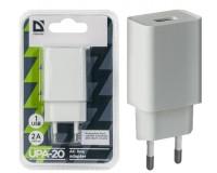 Зарядное устройство Defender UPA-20 2000 mA 1хUSB, выходной ток: USB1-2А, белое, блистер