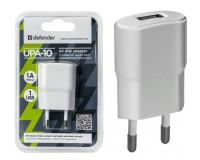 Зарядное устройство Defender UPA-10 1000 mA 1хUSB, выходной ток: USB1-1А, белое, блистер