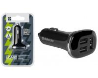 Автомобильное зарядное устройство Defender UCA-50 12-24В 3хUSB, Выходной ток: USB1-2, 4А, USB2-2, 4А, USB3-2А, смарт-система распределения токов, индикация включения, блистер, размер: 3.5x14.5x9.0 см., черное