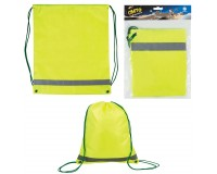 Сумка для обуви - для учеников начальной школы 610634 42х33 см., плотная светоотражающая, водоотталкивающая ткань, затягивается шнурком, ярко-зеленая (лимонная)