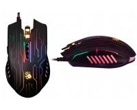 Мышь игровая A4Tech Q82 Bloody USB Optical (800/1600/2000/3200 dpi) черная, 8 кнопок+колесо-кнопка металлические ножки: свыше 300 км., время отклика: 1 мс., скорость: 6666 fps., подсветка кольца прокрутки и принта, коробка