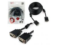 Кабель VGA-VGA Cablexpert 10м, тройной экран, 2 фильтра, пакет, черный (CC-PPVGA-10M-B)