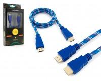 Кабель HDMI-HDMI Konoos 1м ver 1.4, тканевый, алюминиевые коннекторы, позолоченные разъемы, технология реверсивного звукового канала (ARC), коробка, синий/красный/белый (KC-HDMInbrw)