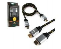Кабель HDMI-HDMI Konoos 1м ver 1.4, тканевый, алюминиевые коннекторы, позолоченные разъемы, технология реверсивного звукового канала (ARC), коробка, черный (KCP-HDMInbk)