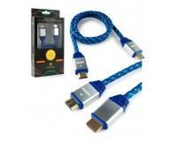 Кабель HDMI-HDMI Konoos 1м ver 1.4, тканевый, алюминиевые коннекторы, позолоченные разъемы, технология реверсивного звукового канала (ARC), коробка, синий (KCP-HDMInbl)