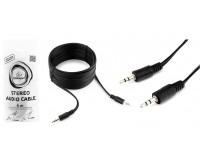 Кабель Jack 3.5 штекер-штекер Cablexpert длина 5м, пакет, черный (CCA-404-5M)