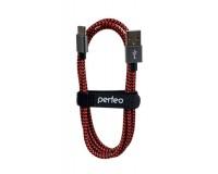 Кабель Type-C Perfeo длина 1м, USB2.0, тканевый, пакет, черно-красный (U4901)