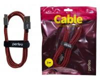Кабель Type-C Perfeo длина 3.0м, USB2.0, тканевый, пакет, черно-красный (U4902)