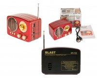 Приемник Blast BPR-705 аккумуляторно-сетевой AUX/USB/microSD до 32 Гб, Bluetooth 5 Вт., FM (87-108МГц), AM (522-1620КГц), SW (5.9-18МГц) размер: 90х130х70 мм., красный