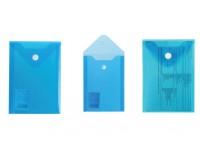 Папка - конверт BRAUBERG 227317 Формат: А6, с кнопкой, 105х148 мм, прозрачная, синяя, 0, 18мм