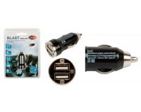 Автомобильное зарядное устройство Blast BCA-021 12/24В 2хUSB, Выходной ток: USB1-1, 5A, USB2-3, 1A, блистер черное