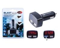 Автомобильное зарядное устройство Blast BCA-022 12/24В 2хUSB, Выходной ток: USB1-1, 5A, USB2-3, 1A, LED дисплей с отображение бортового напряжения автомобиля и потребления тока USB, блистер черное