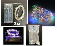 Гирлянда Огонек OG-LDG05 (LD-151) светодиодная цветная 3 м. Питание: 2*R6(AA) в комплект не входят,