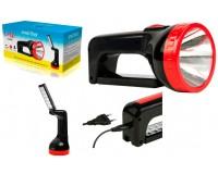 Фонарь-прожектор SmartBuy SBF-303-K 1 светодиод (1W)+12 SMD светодиодов, аккумулятор 4V 2Ah, кабель для зарядки, 2 режима работы: прожектор — 6 часов, светильник — 8 часов