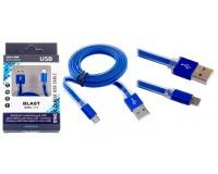 Кабель microUSB Blast длина 1м, cкорость передачи данных до 480 Мбит/с, плоский, алюминиевые коннекторы, коробка, голубой (BMC-111)