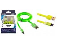 Кабель microUSB Blast длина 2.0м, cкорость передачи данных до 480 Мбит/с, плоский, алюминиевые коннекторы, коробка, зеленый (BMC-121)