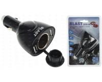 Переходник для прикуривателя Blast BCA-121 напряжение: 12-24В, на 2 гнезда(60W) +2 USB, выходной ток: 1500-3100 мА, блистер