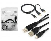 Кабель miniUSB Cablexpert длина 0, 9м, на 2хUSB A, для подключения внешних устройств требующих дополнительного питания, пакет, черный (CCP-USB22-AM5P-3)
