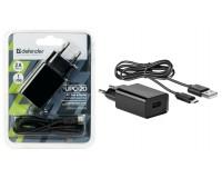 Зарядное устройство Defender UPC-20 2100 mA 1хUSB, выходной ток: USB1-2A, черное, кабель microUSB, блистер